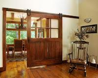 Farmhouse interior with barn door