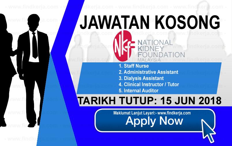 Jawatan Kerja Kosong NKF - Yayasan Buah Pinggang Kebangsaan Malaysia logo www.findkerja.com jun 2018