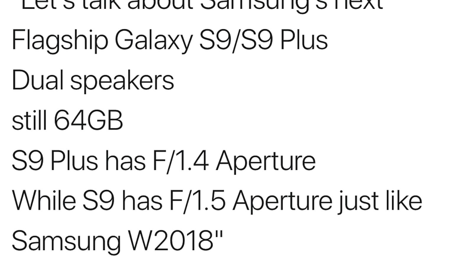 Samsung Galaxy s9 camera specifications