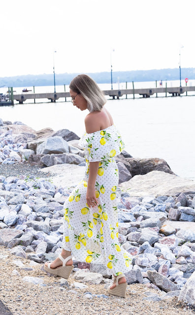 Off the shoulder lemons and polka dot dress