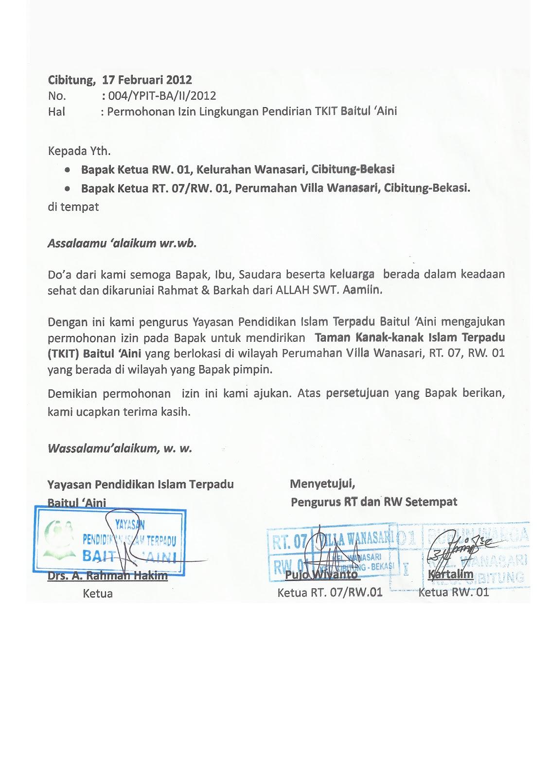 TKIT-TPQ BAITUL 'AINI: Contoh Surat Izin Lingkungan ...