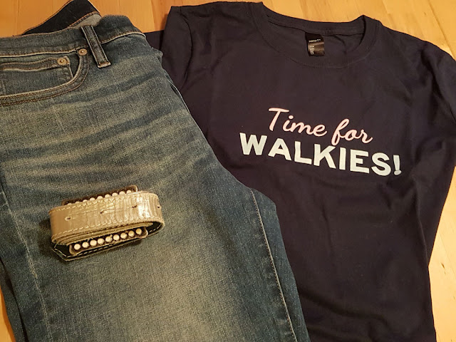 Time for Walkies tee (Companion Animal Psychology merch) pictured with jeans and belt