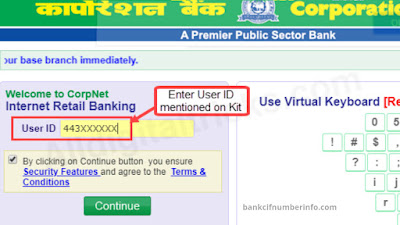Net Banking - Corporation Bank Balance check