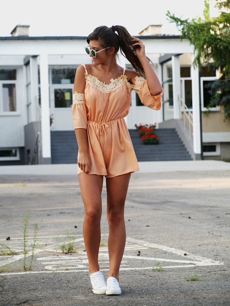 ORANGE ROMPER & SUNGLASS CAT EYE