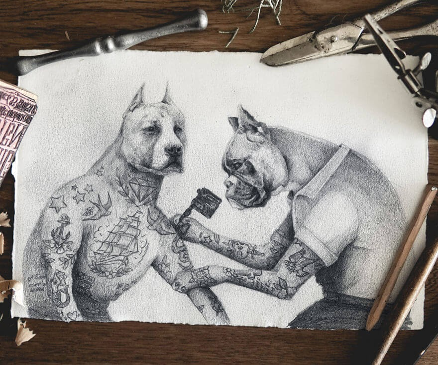 05-Rocky-traditional-tattooing-Mike-Koubou-Animal-Family-Album-Portrait-Drawings-www-designstack-co