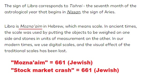 Decoding Satan: #Libra #Hebrew #661 #Stockmarketcrash