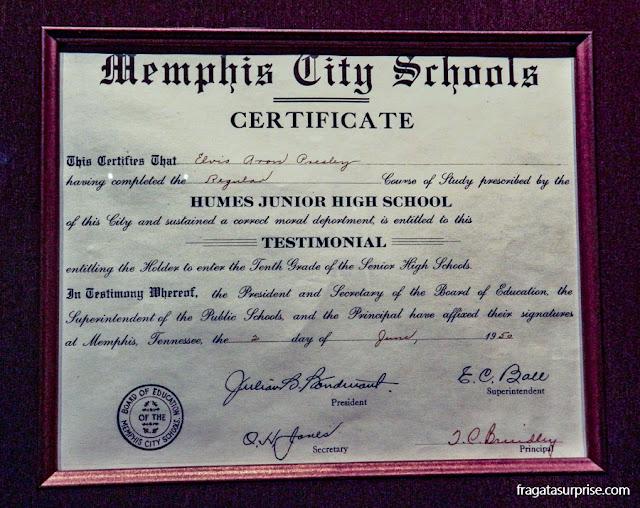 Diploma do ensino médio de Elvis Presley