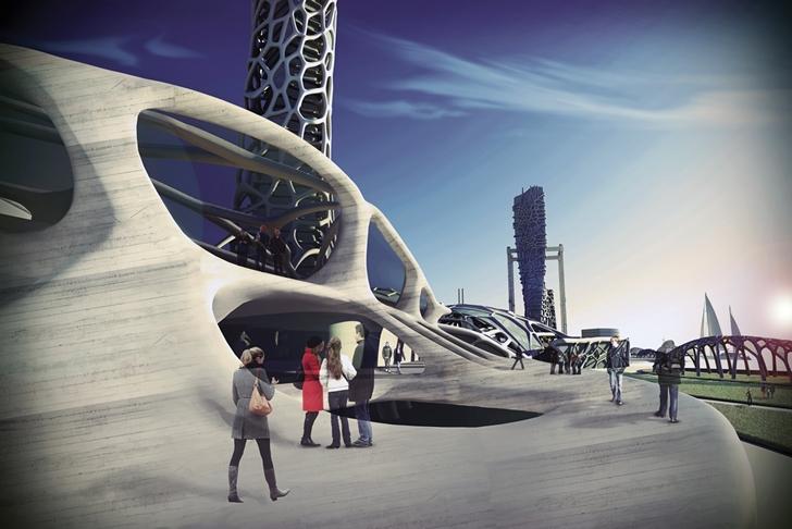 3D Printed Building rendering
