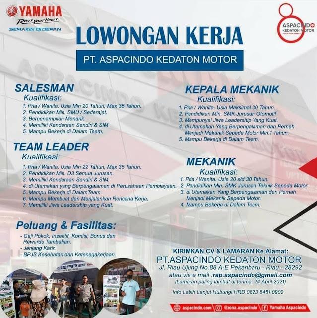 PT. Aspacindo Kedaton Motor Membuka Loker Sebagai Salesmen, Team Leader, Kepala Melanik dan Mekanik.