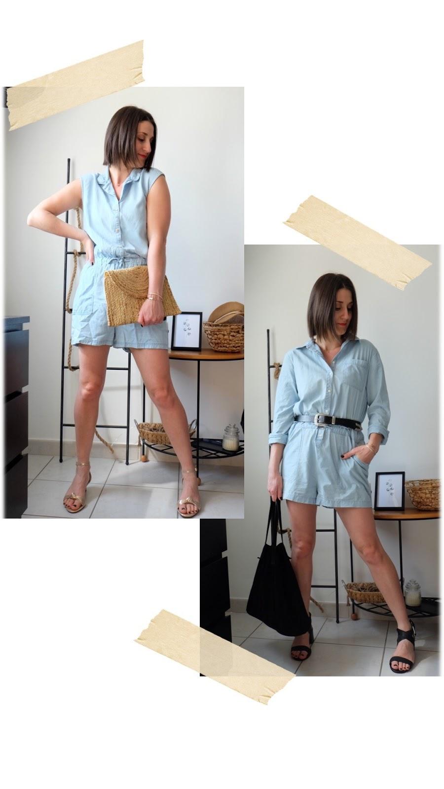deux façons de porter la combi short denim cet été