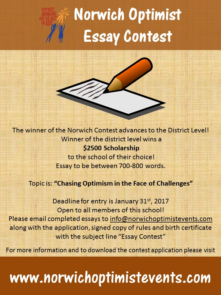 optimist contest essay Applicants must be under 18 years of age as of december 31 of the current school year and application must be made through a local optimist club the essay topic changes each year applicants compete at the club, district and international level district winners receive a $2,500 scholarship scoring is based on.