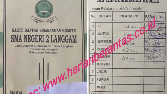 Diminta Aparat Hukum Tangkap Kepsek SMAN 2 Langgam Cs Terduga Pelaku Pungli Mencapai Ratusan Juta Rupiah