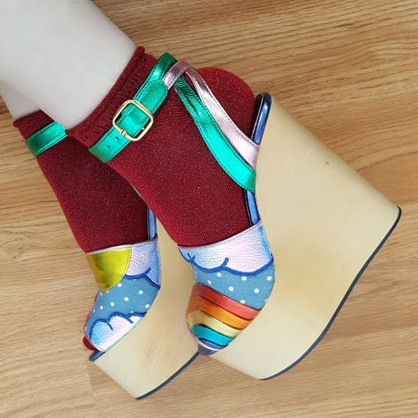 wearing SS18 wooden wedge shoes from Irregular Choice with socks