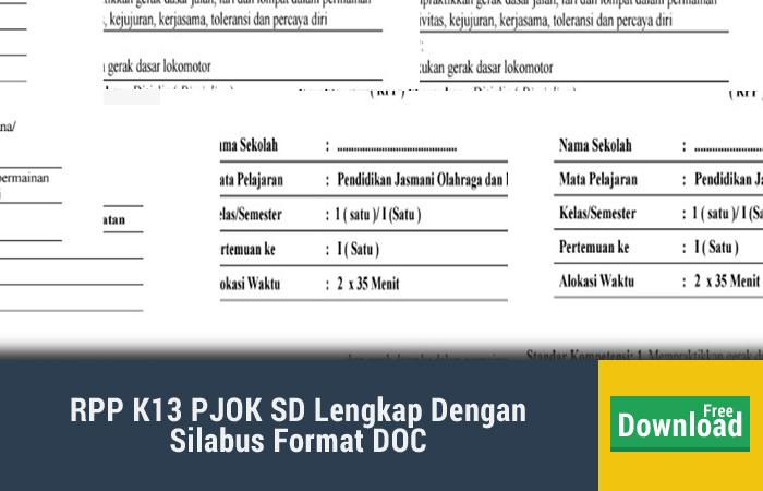 Rpp K13 Pjok Sd Lengkap Dengan Silabus Format Doc Kurikulum 2013 Revisi Blog