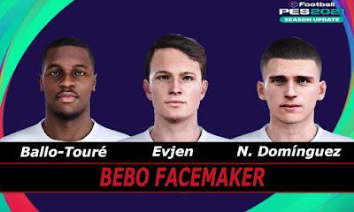 PES 2021 Faces Ballo-Touré & Evjen & N. Domínguez by Bebo