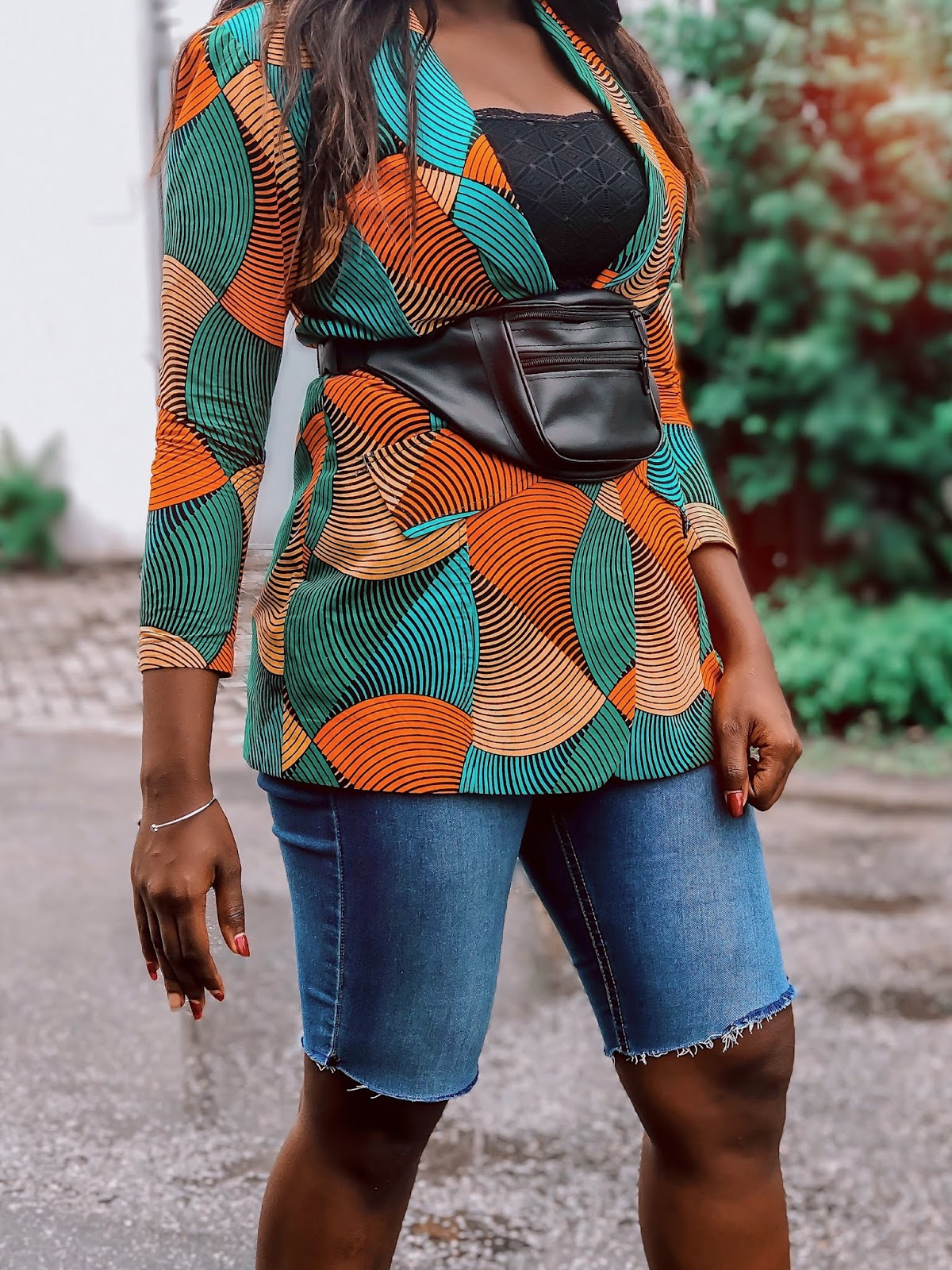 How to style denim cycling shorts with ankara