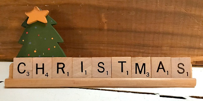 Diy Vintage Scrabble Tile sign for Christmas