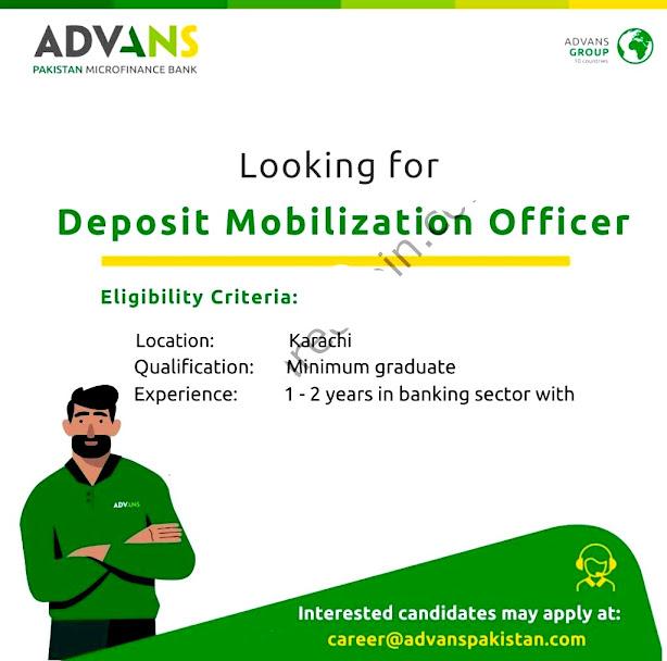 Advans Pakistan Microfinance Bank Limited New Jobs For  Deposit Mobilization Officer