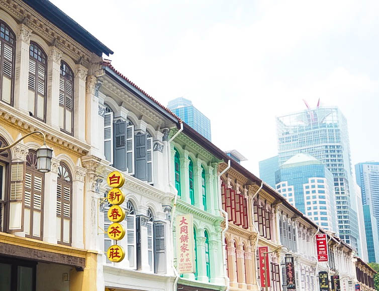 Colourful shutters in Chinatown, Singapore