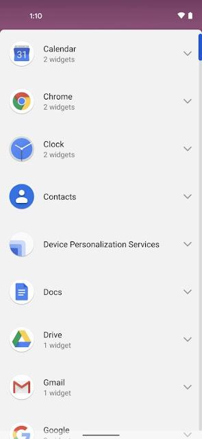 شكل جديد لقائمة الويدجت - New widget organization