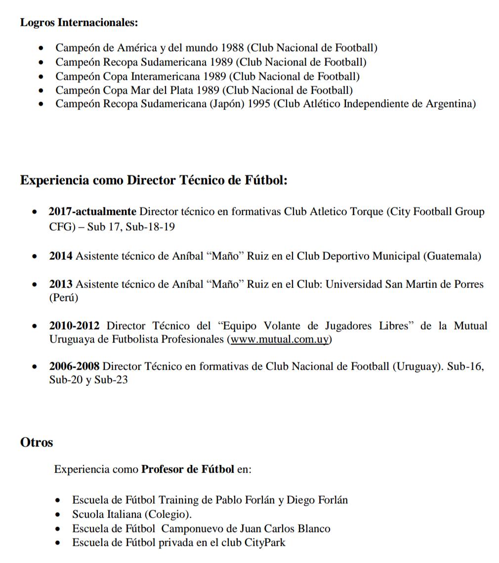 Curriculum Vitae D T Futbol Profesional Tony Gomez Uruguay