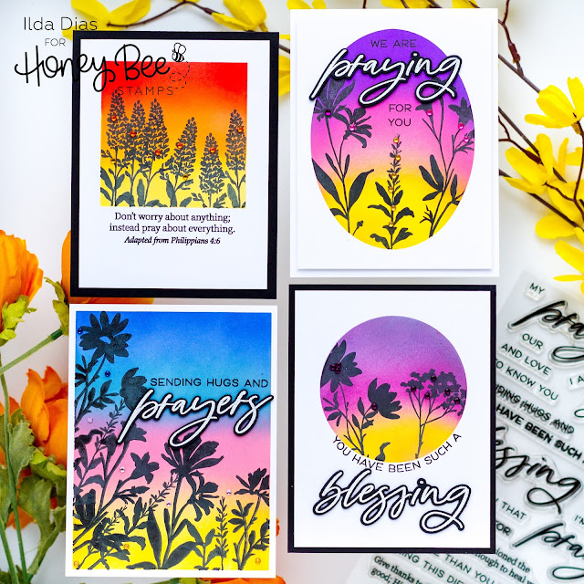 Botanical Blessings, Sympathy Cards, Honey Bee Stamps,Ink Blending,Distress Oxide blending,Card Making, Stamping, Die Cutting, handmade card, ilovedoingallthingscrafty, Stamps, how to, Bold Botanicals, Praying Big Time