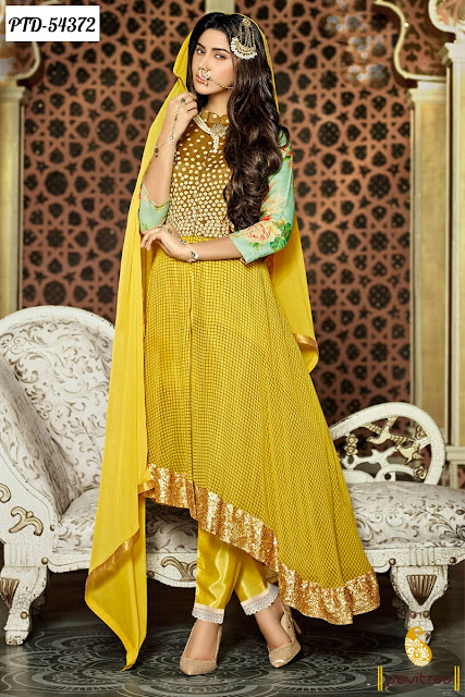 Fashionable yellow color  net anarkali salwar suit Bajorao Mastani online collection with discount offer sale at pavitraa.in