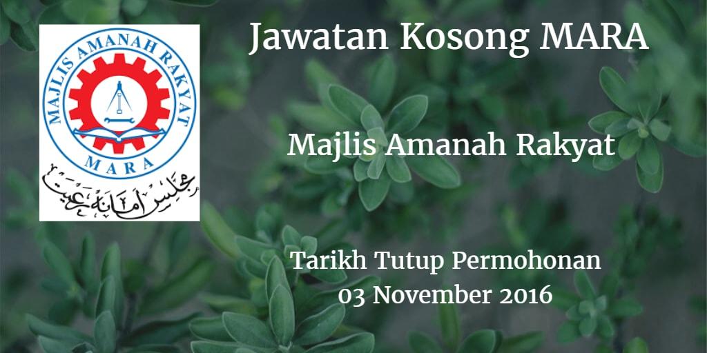 Jawatan Kosong MARA 03 November 2016