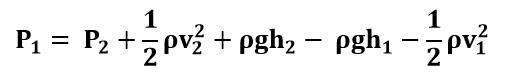 Despeje de P1 en la ecuación de Bernoulli del ejercicio 1