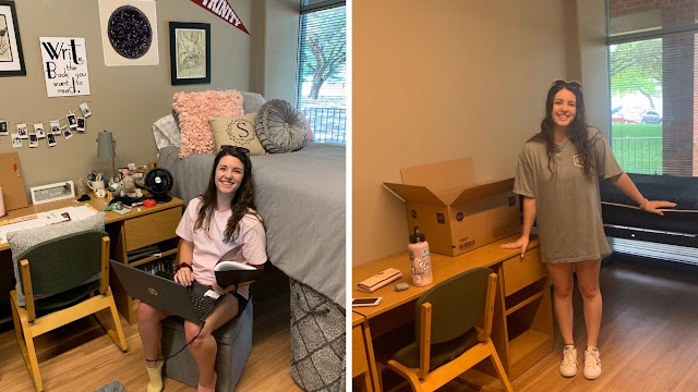 sydney on her first day in her residence hall room and her last day