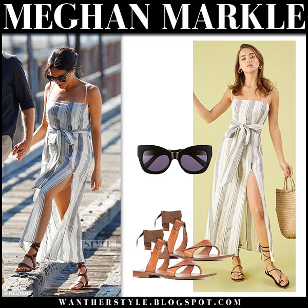 Meghan Markle in striped belted reformation dress and brown sandals sarah flint australian royal tour fashion october 22