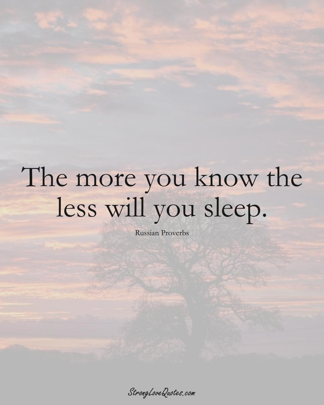 The more you know the less will you sleep. (Russian Sayings);  #AsianSayings