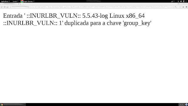 Detalhes na injeção SQL é usado FUNCTIONS básicas de injeção, mas seu diferencial é uso de variáveis Globais do MySQL.  @@GLOBAL.version = VERSÃO BANCO DE DADOS MYSQL @@GLOBAL.version_compile_os = SERVIDOR COMPILADO @@GLOBAL.version_compile_machine = TIPO DE ARQUITETURA  DO SERVIDOR  Também passo a string ::INURLBR_VULN:: no formato hexadecimal, para assim posteriormente validar se a injeção ocorreu como esperado. 0x203a3a494e55524c42525f56554c4e3a3a20 = ::INURLBR_VULN::  Print saída da injeção: