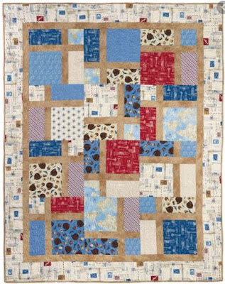 blue and cream Slice of Life quilt