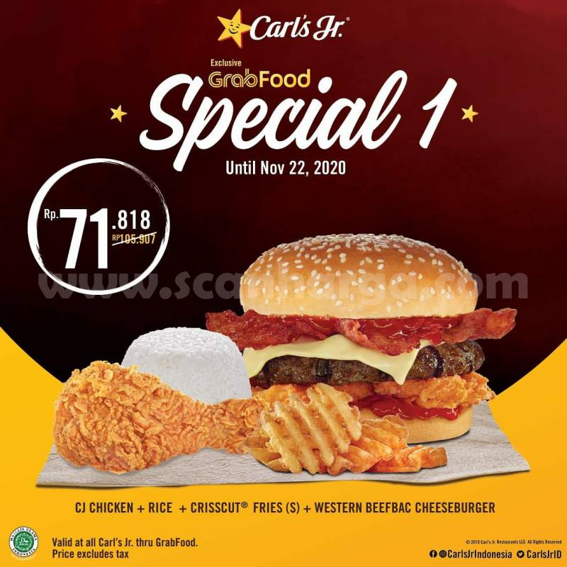 Carls Jr Promo Paket Spesial Pesan Antar via Grabfood
