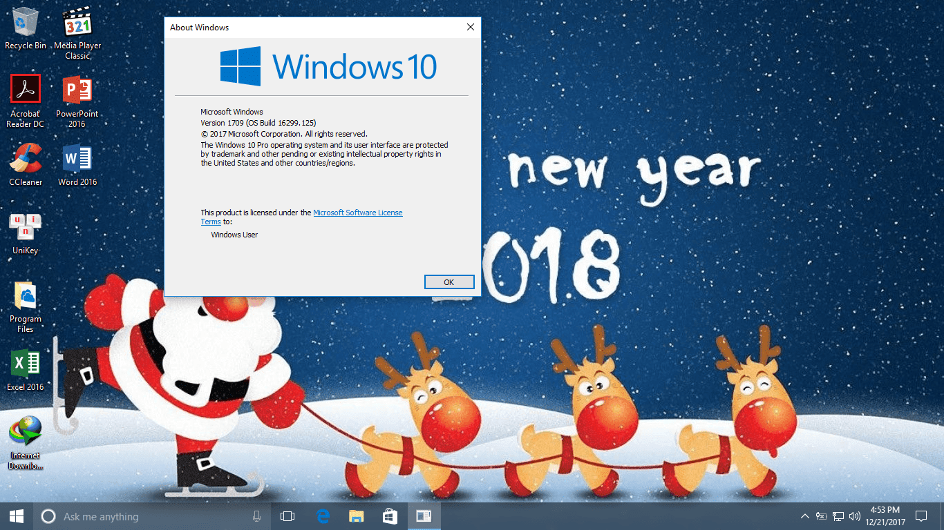 Chào 2018 - Bộ cài Windows 10 Pro, version 1709 build 16299.125 Full Soft, Office 2016 Pro Plus