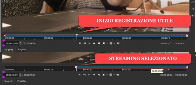 selezionare la registrazione utile in shotcut