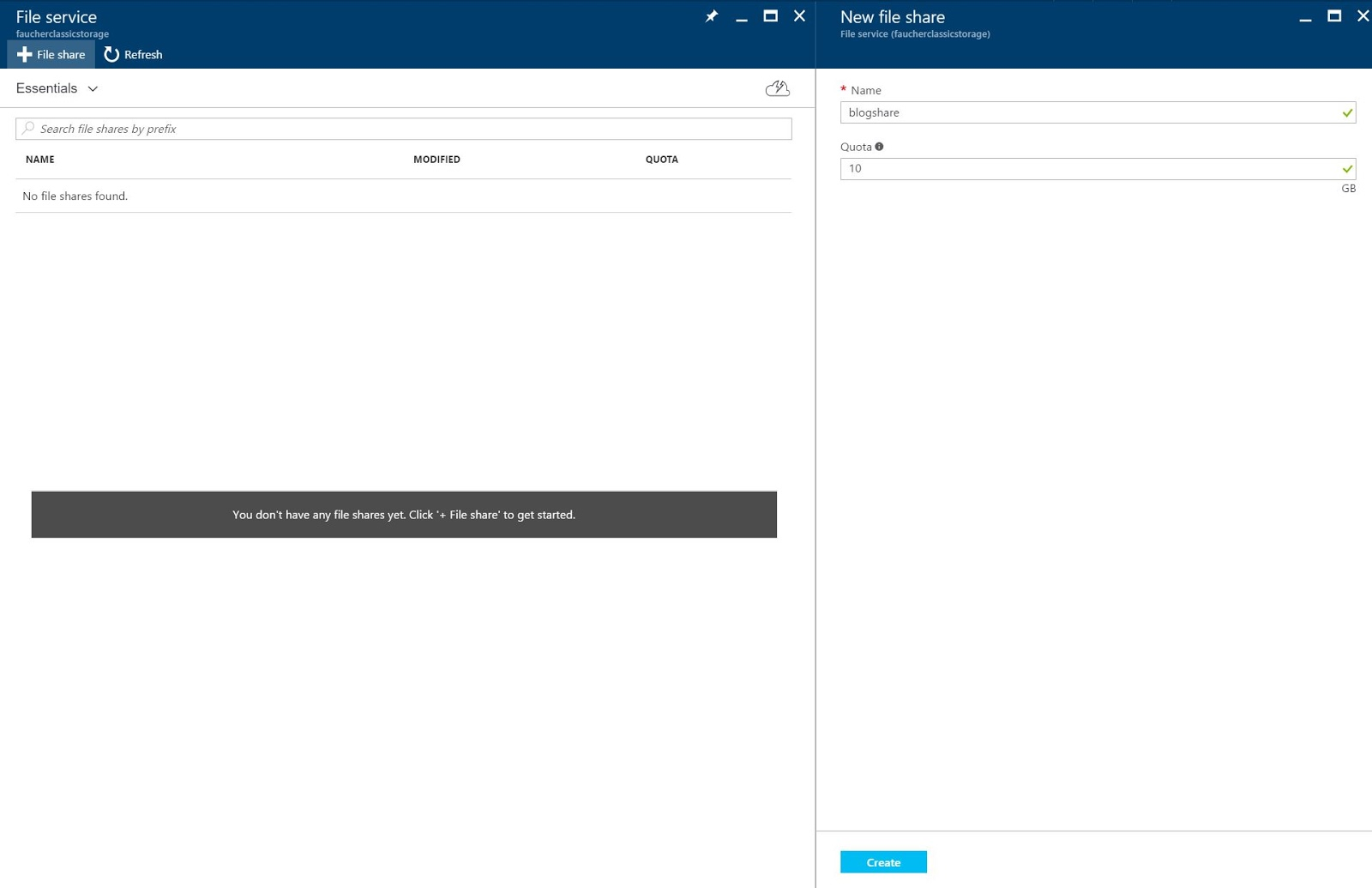 3 steps to veeam direct restore to microsoft azure cloud disaster pick one of your storage accounts click files and click file share to add a new file service name the file share enter a quota and click create baditri Image collections
