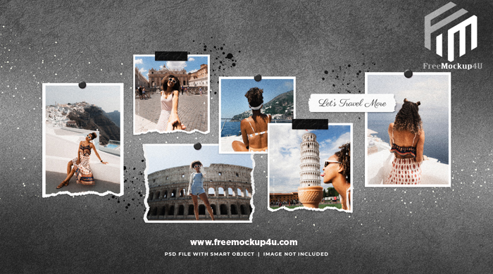 Travel Photo Frame Set Moodboard Mockup With Ink Splatter