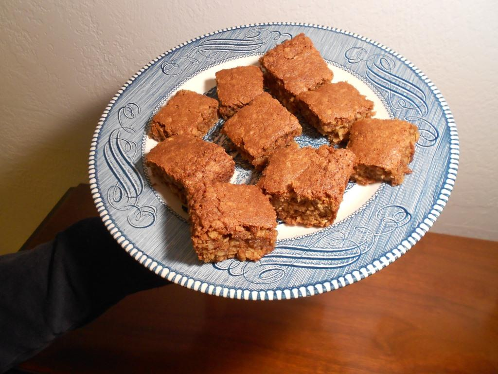 Chewy Brown-Sugar Oatmeal Bars on a Plate Photo