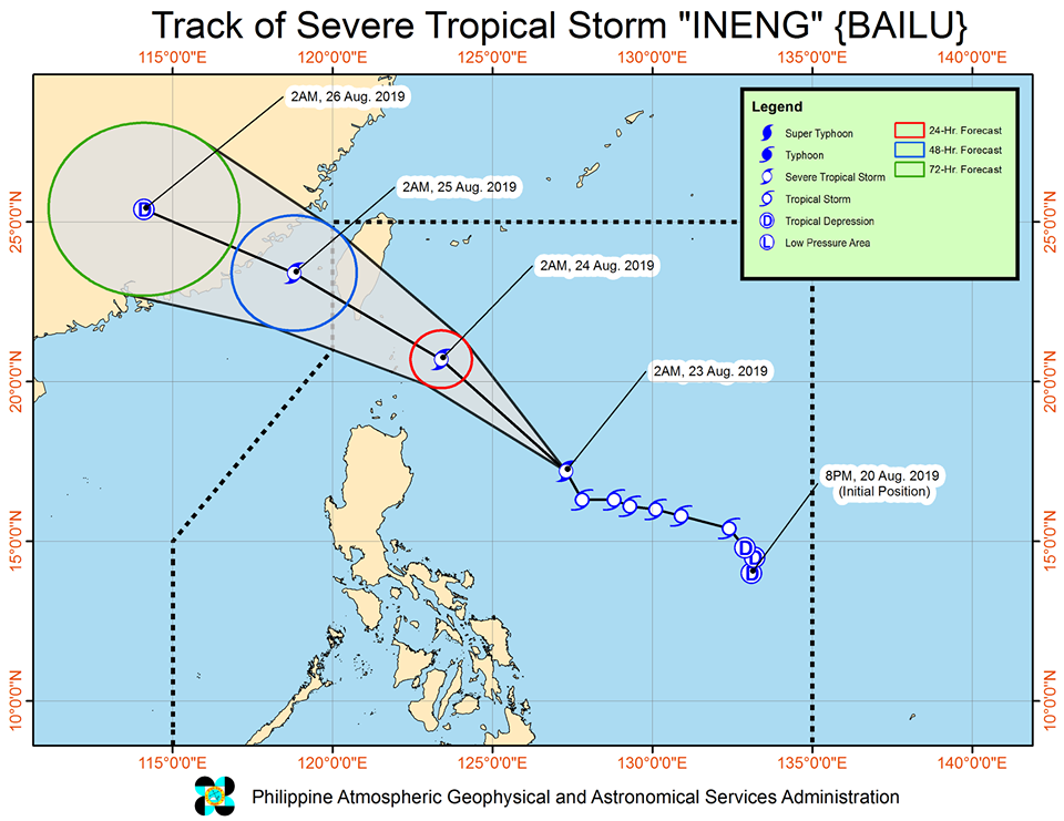 Latest track of Severe Tropical Storm Ineng as of Friday, August 23