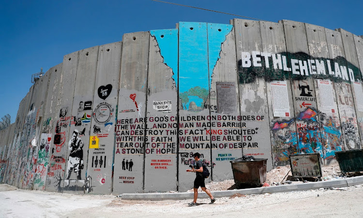 The wall separating Israel and the West Bank at Bethlehem