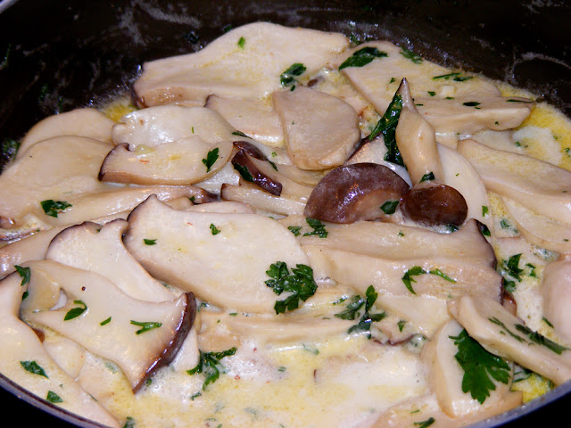 Homemade creamy king oyster mushrooms. Photo by Loire Valley Time Travel.