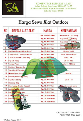 Sewa Alat Outdoor Hiking Camping Sahabat Alam
