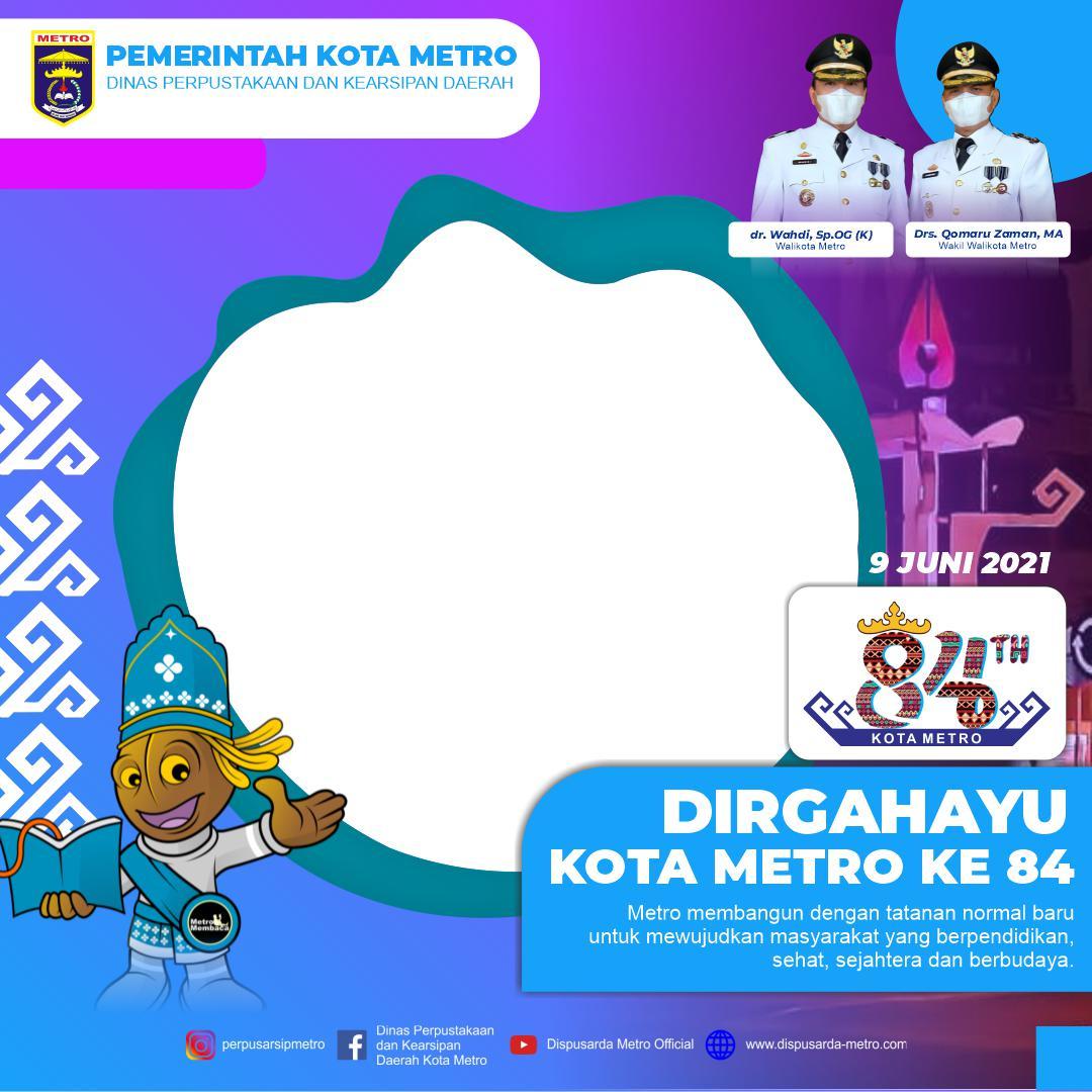 Template Desain Keren Bingkai Twibbon Dirgahayu Kota Metro ke-84 Tahun 2021