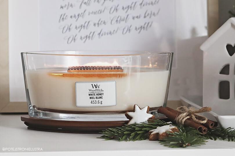 świeca woodwick white honey w kształcie elipsy, łezki