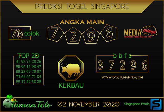 Prediksi Togel SINGAPORE TAMAN TOTO 02 NOVEMBER 2020