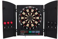 Arachnid Bullshooter Marauder 5.0 Electronic Soft Tip Dartboard Cabinet Set – Best Electronic Dart Board Cabinet