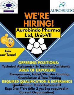 Aurobindo Pharma Limited Recruitment ITI/ Diploma/B.Sc  Candidates For Technical  Assistants / Sr. Technical Assistants