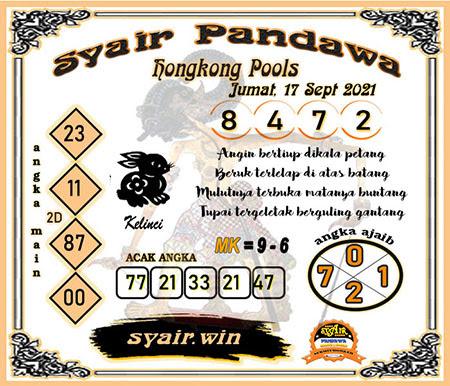 Syair Pandawa HK Jumat 17-Sep-2021